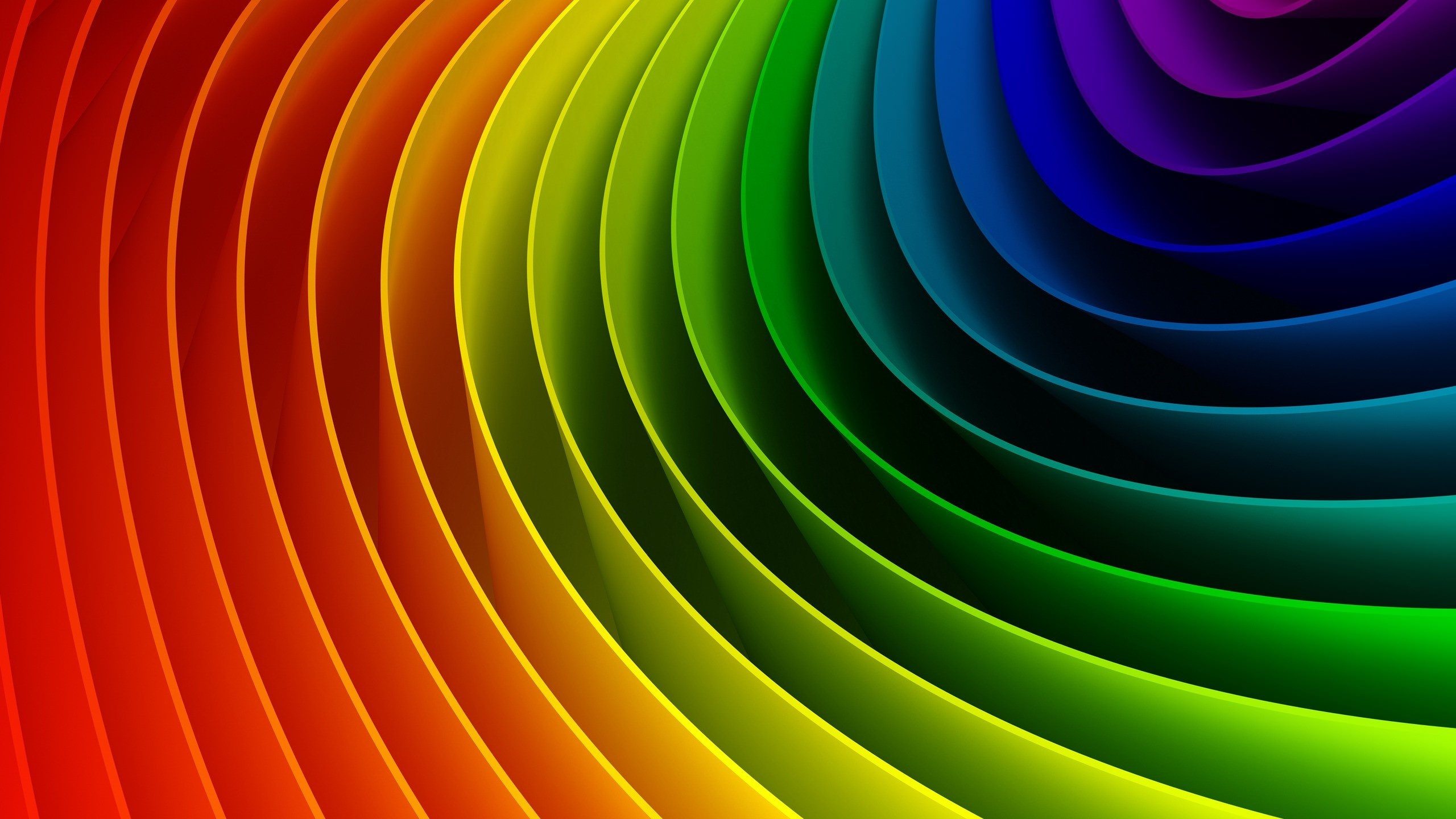 Colorful Curved Rainbow Pattern