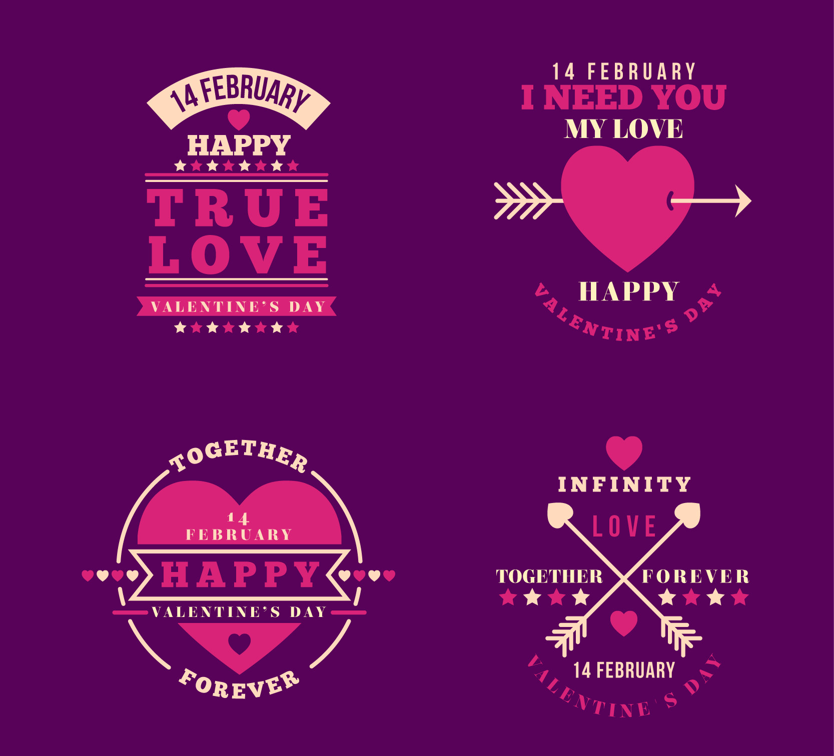 Cute Vintage Valentine's Day Badges with Purple Background
