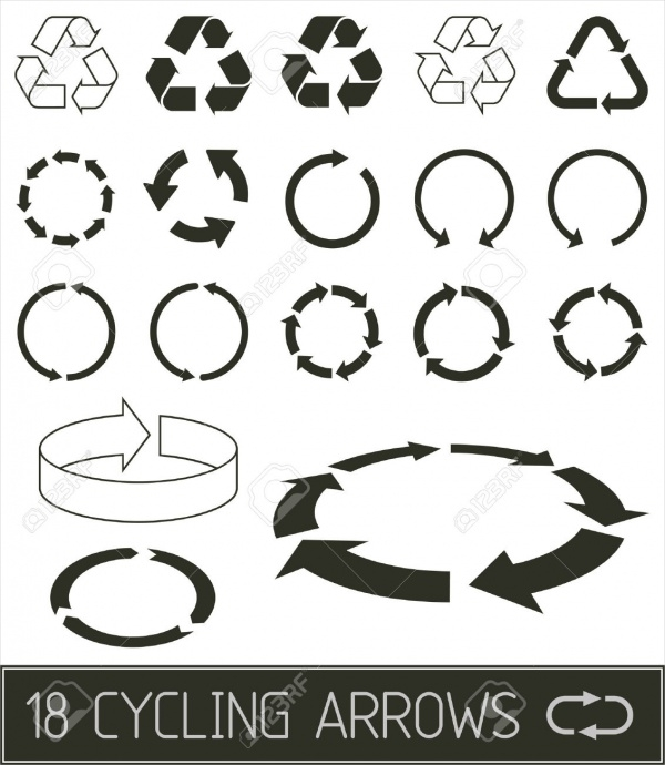 Cycling Arrows Flat Clean Buttons