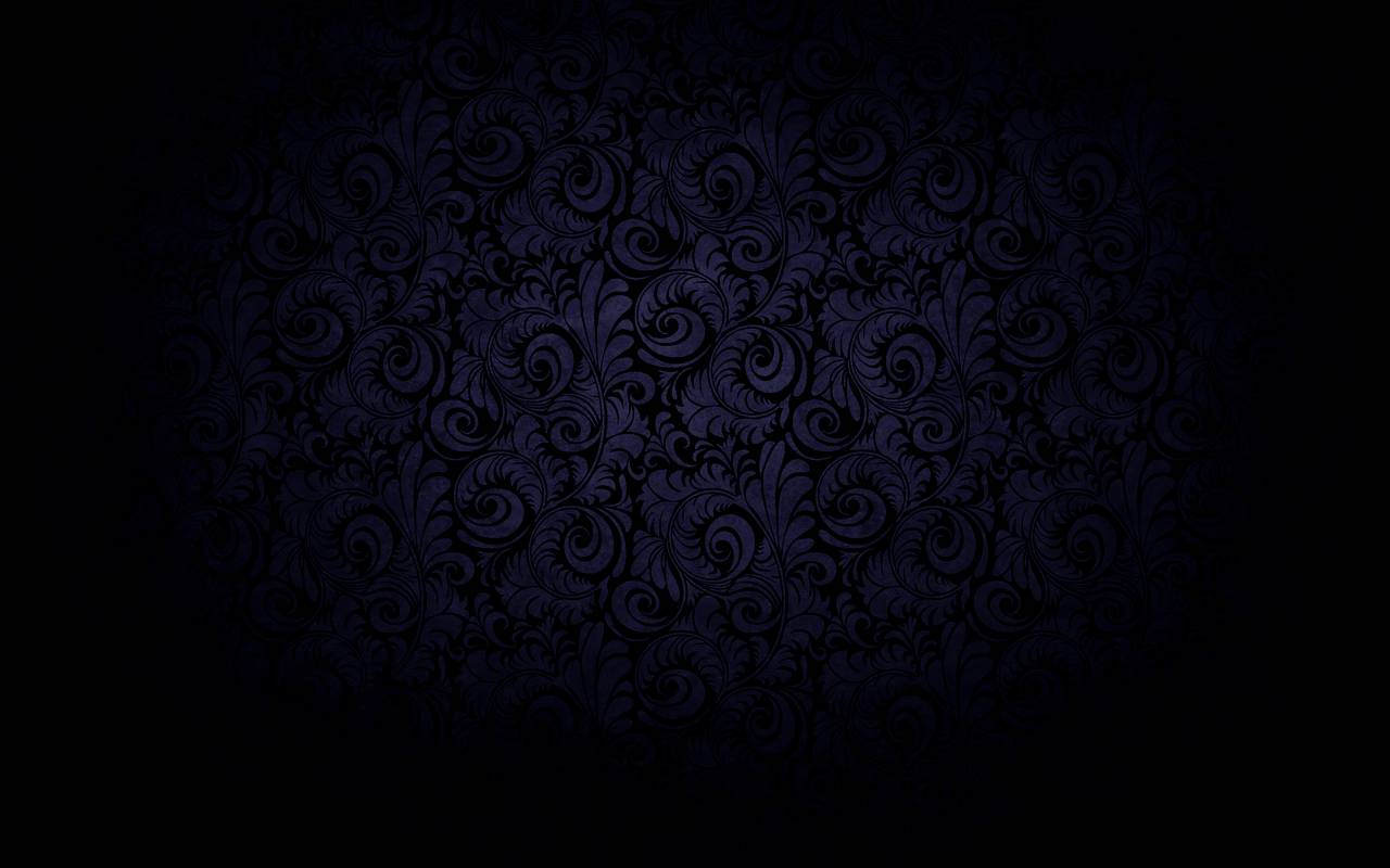Dark Black Curved Bloom Blue Background
