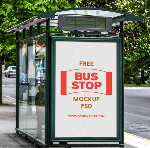 download 3 free outdoor bus stop psd mockups