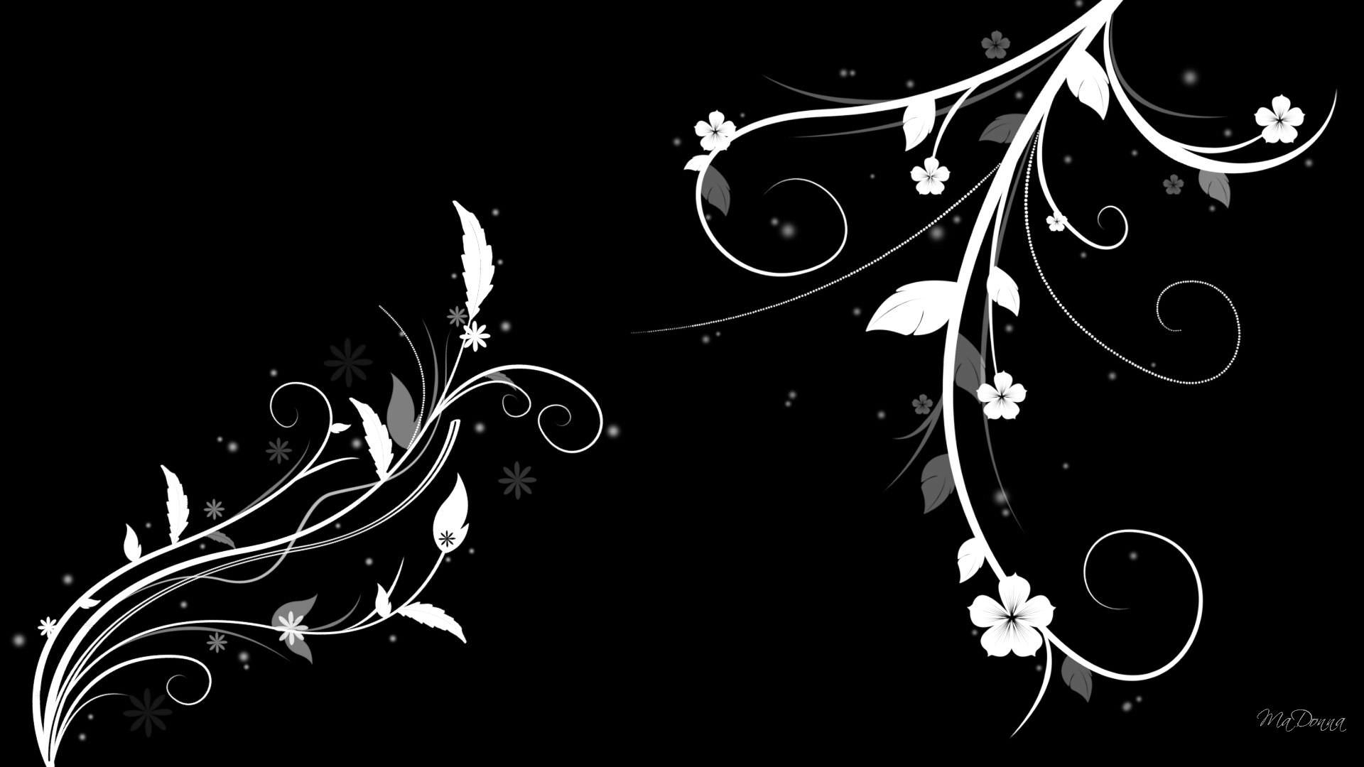 Download Black and white Abstract Flower Wallpaper