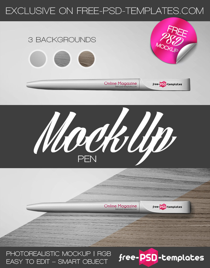 Download Free PSD Pen Mockups