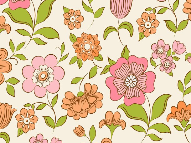 Download Free Photoshop Retro Floral Pattern