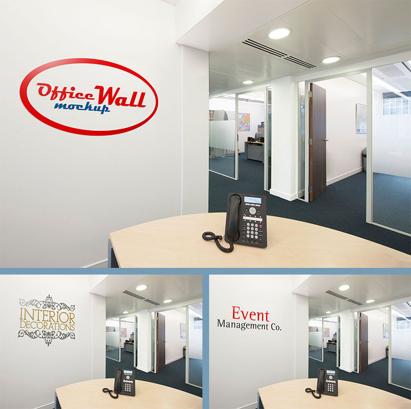 Download free psd photo realistic wall mockups