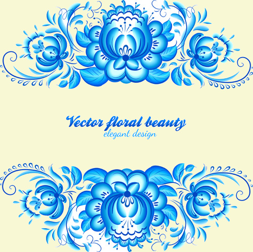 Elegant Blue FLoral Pattern background