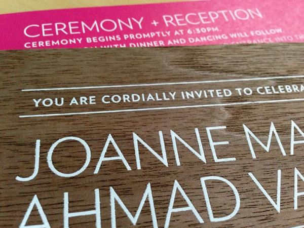 Elegant Graphic Reception Wooden Invitation