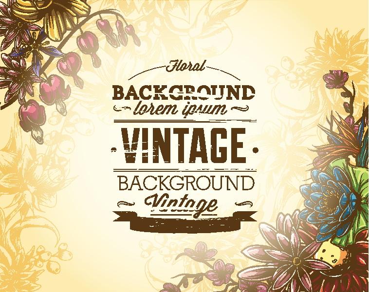 Elegant Vintage Floral Background Set