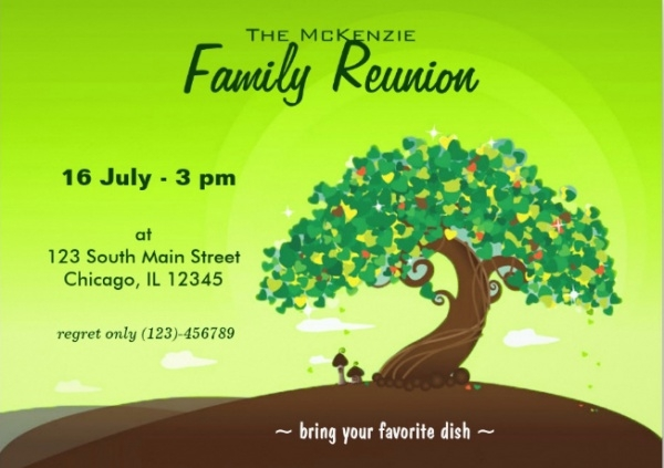 Family Reunion Green Invitation Card  Family Reunion Invitation Cards