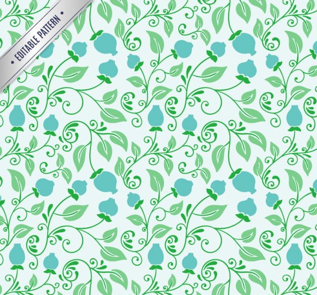 floral pattern in green and blue tones