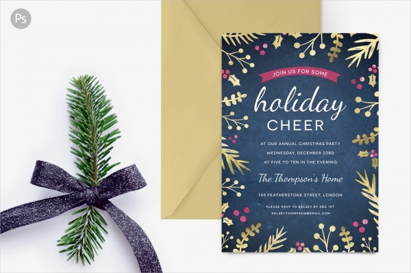 Foil Foliage Holiday Party Invite