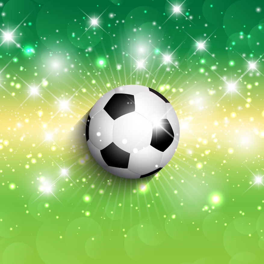 Football on Green Glitter Background