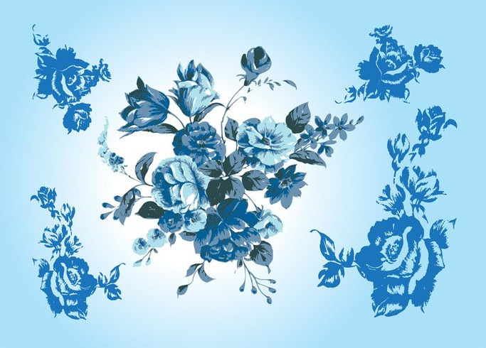 Free Blue Flower Vector Background