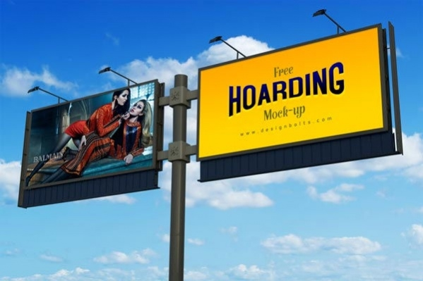 free frontlit outdoor advertising hoarding mock up psd