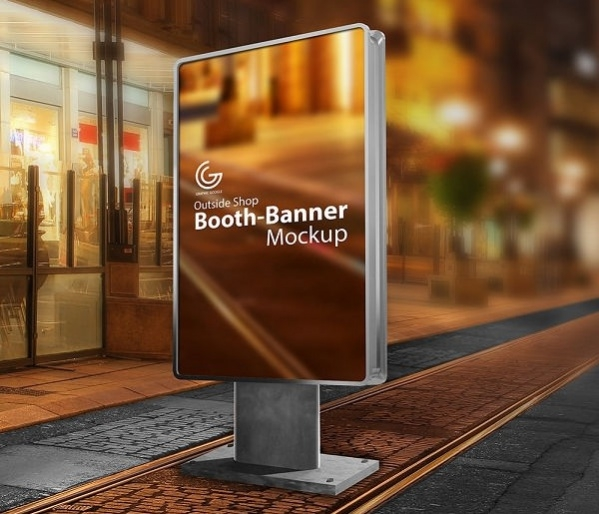 free outside shop booth banner mockup
