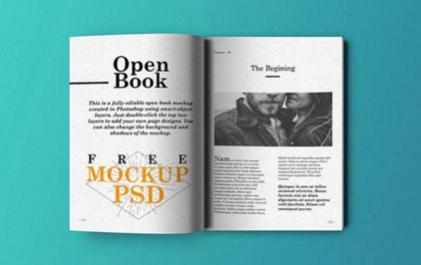 Free Realistic Open Book Mockup PSD 22