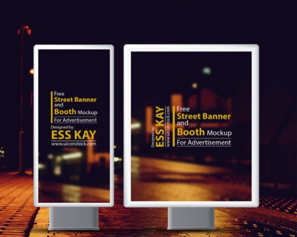 free street banner and booth mockup for outdoor advertisement