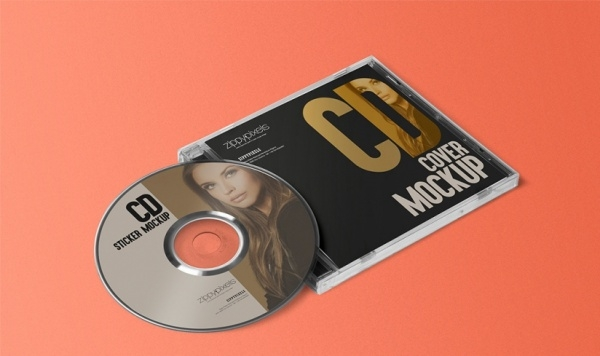 Free Stylish CD Jewel Case & Label Sticker Mockup