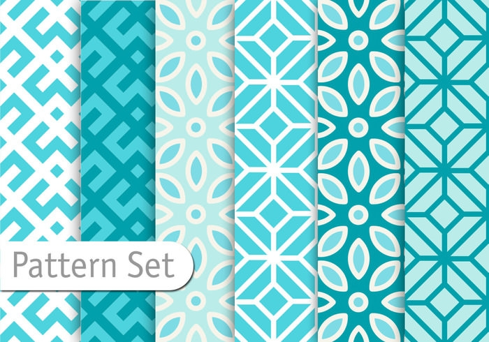 Free Vector Blue Geometric Floral patterns Set
