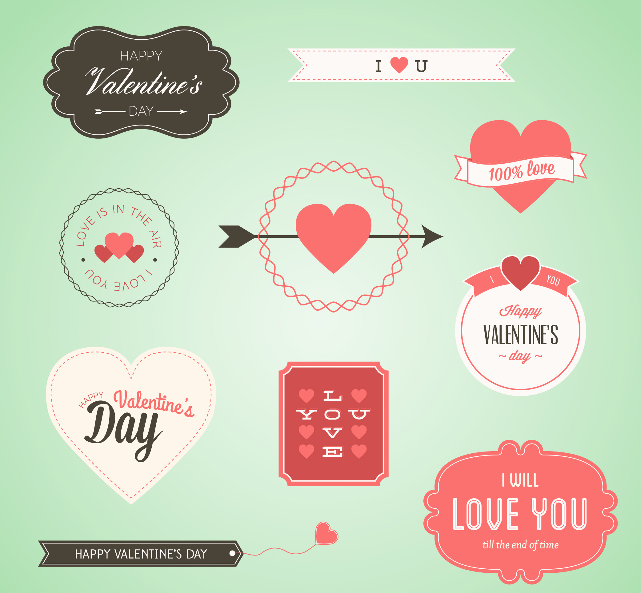 Free Vector Lovely Valentine's Day Badges