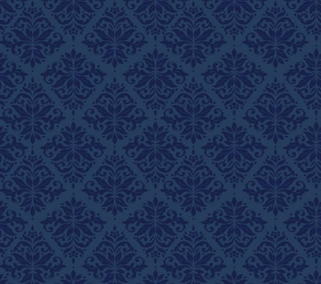 Free Vector Seamless Blue Damask Floral Pattern