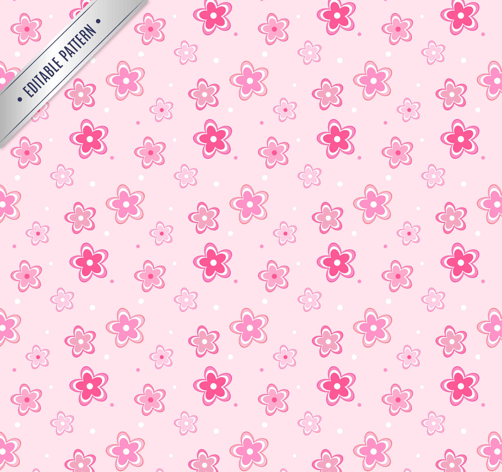 Free vector Pink Flowers Pattern