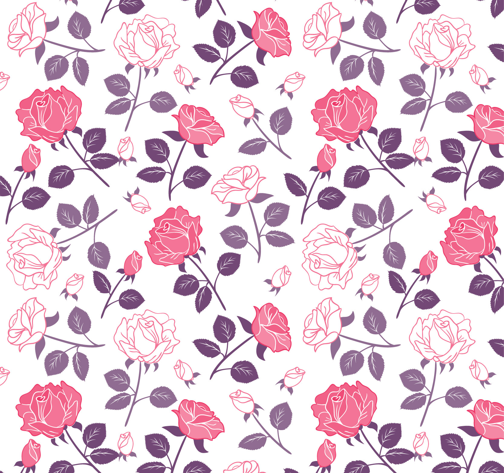 Free vector Rose Flowers Pattern in Pink and Purple Tones