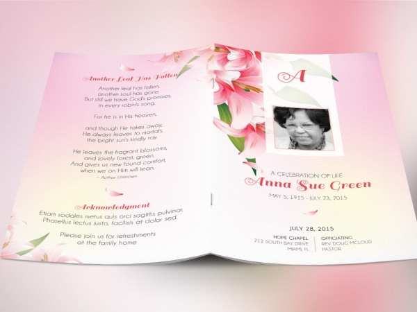 Funeral Arrangement Card