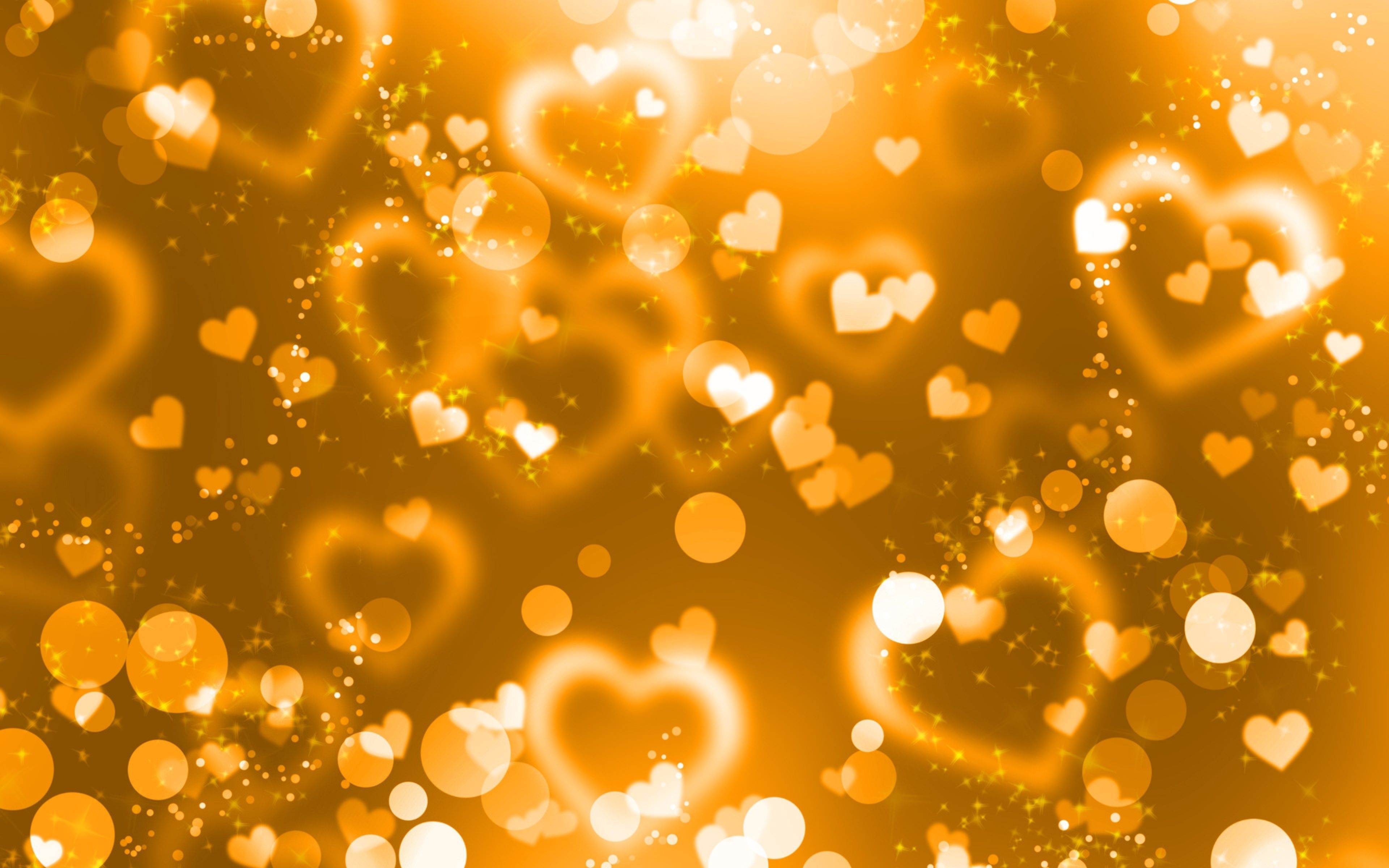 Glare Hearts Lights Glitter Gold Background