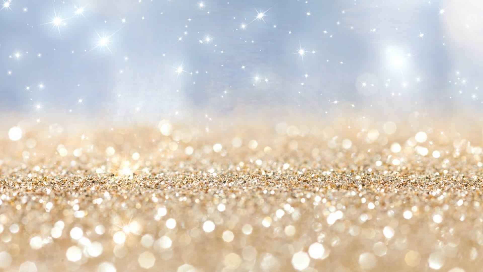 Gold and White Glitter Background