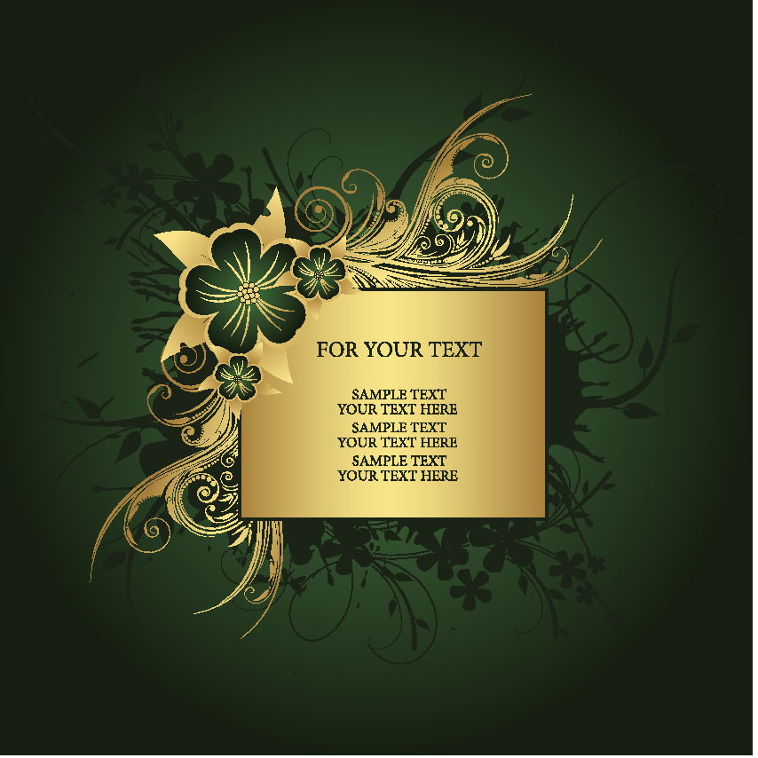 Golden Floral Free vector Green Background