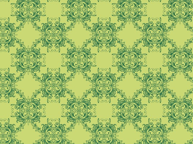 Green Floral Pattern Wallpaper