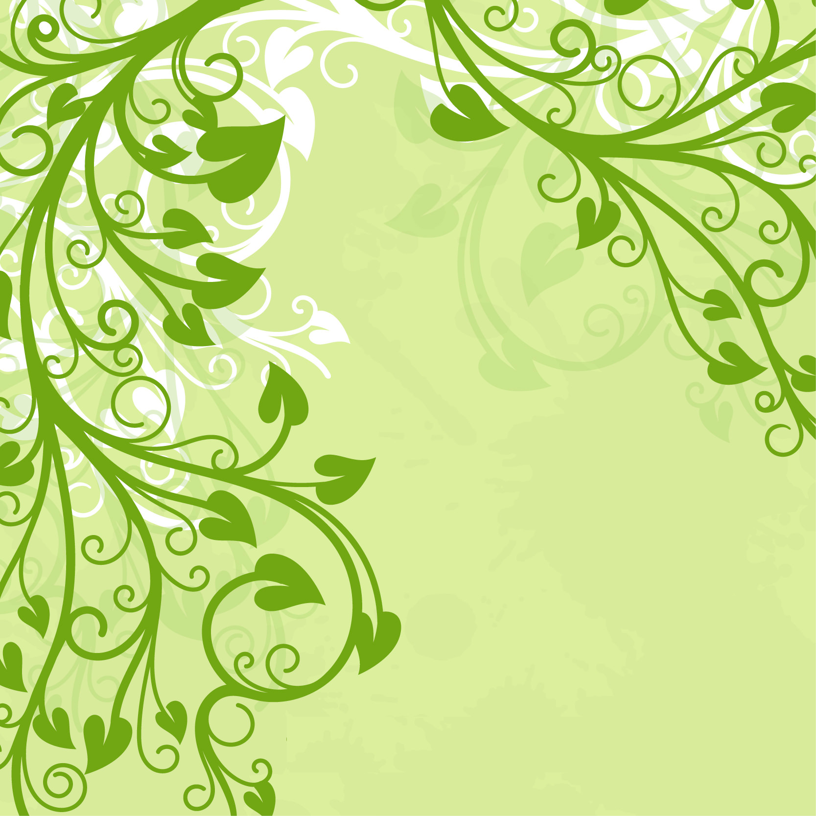 Green Leaves Free Vector Background