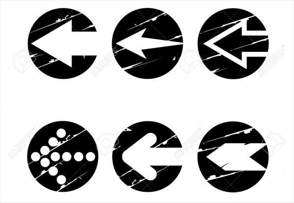 Grunge Arrow Buttons Vector