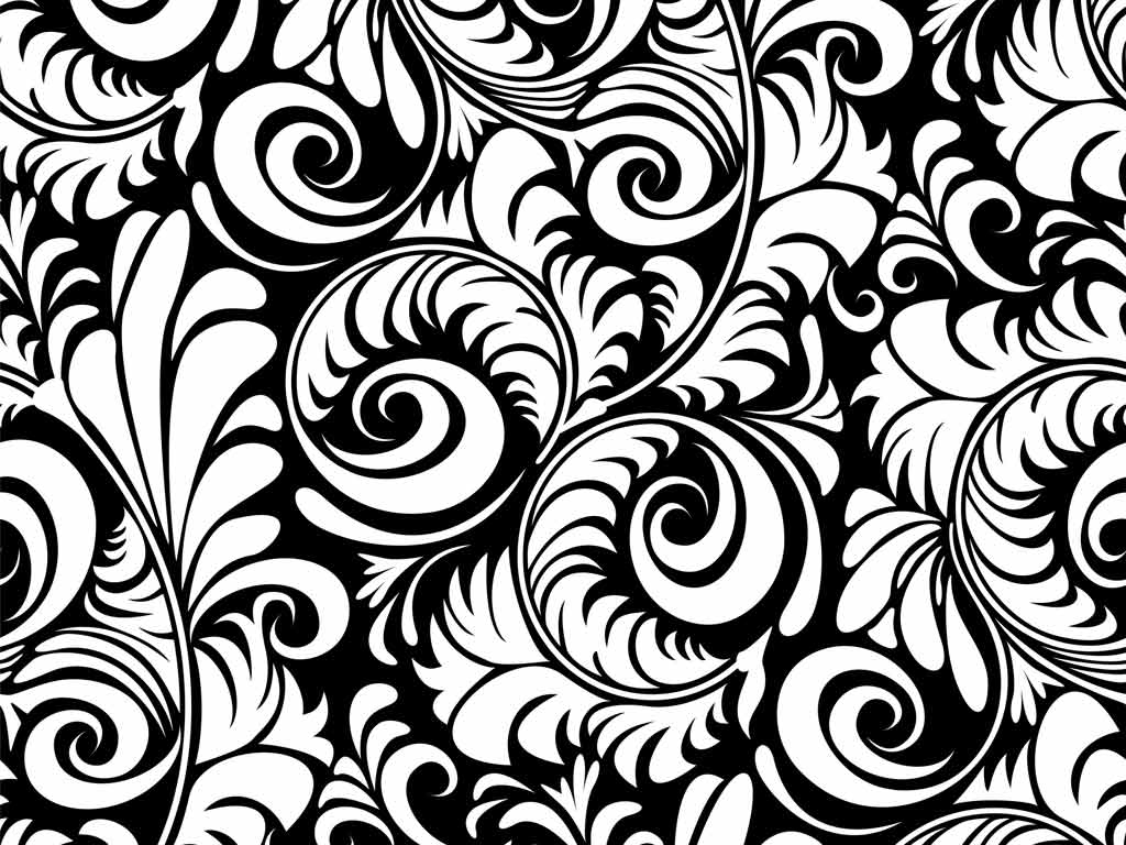 Black white floral wallpapers floral patterns for Black wallpaper with design