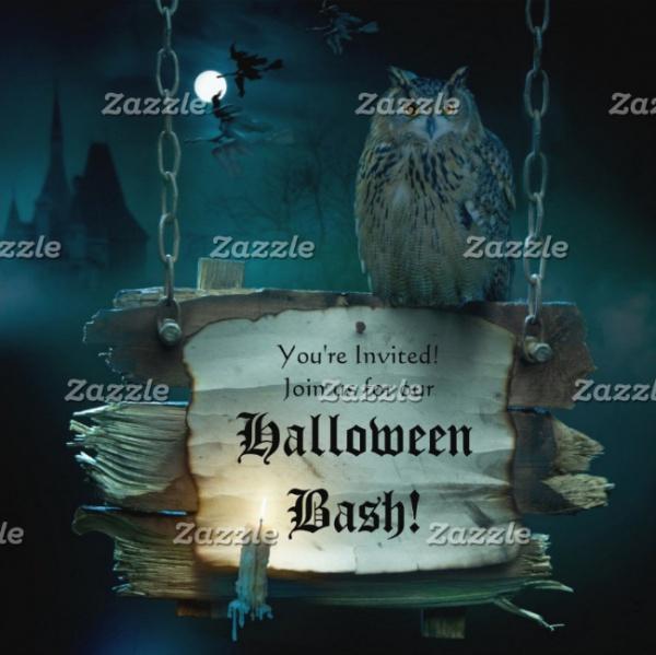 Halloween Owl on Wooden Card Invitation