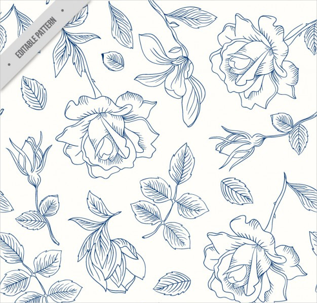 Hand Drawn Blue Roses & Leaves Background