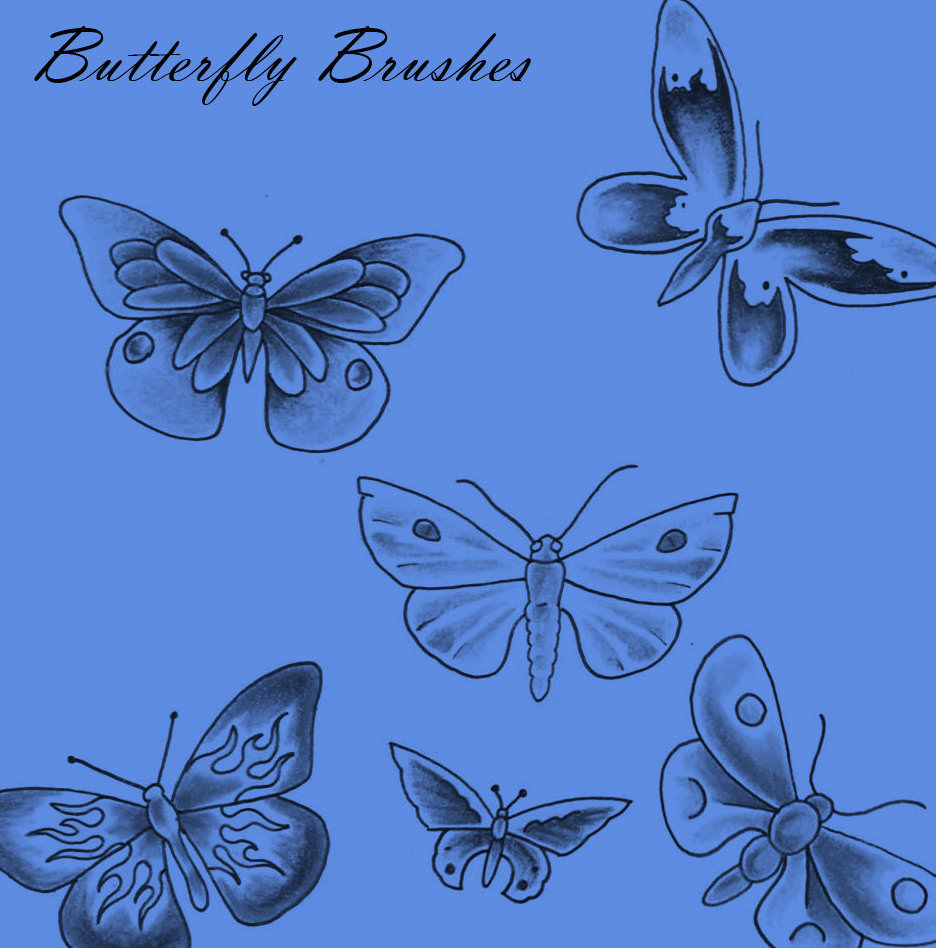 Hand Drawn Butterfly Brushes