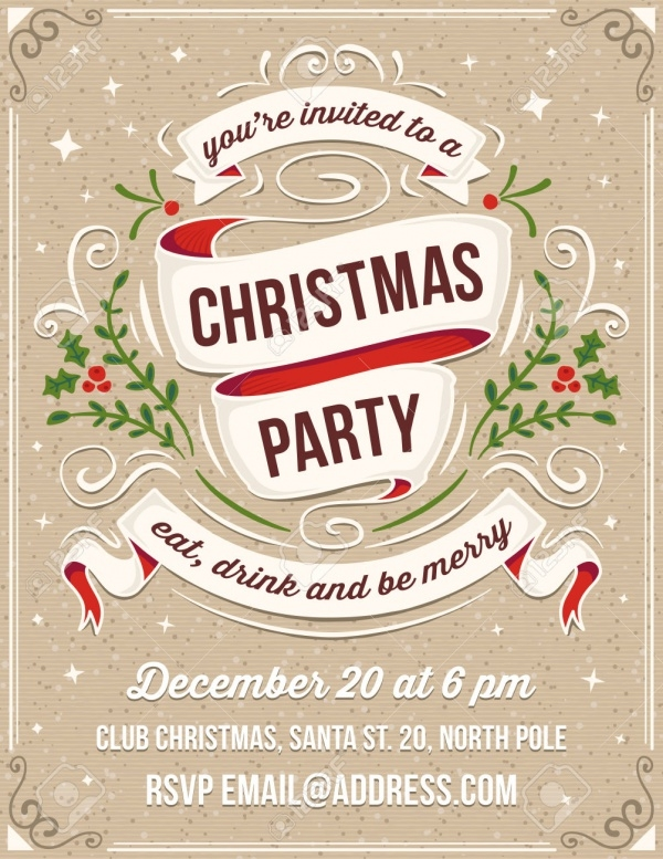 hand drawn christmas party invitation card