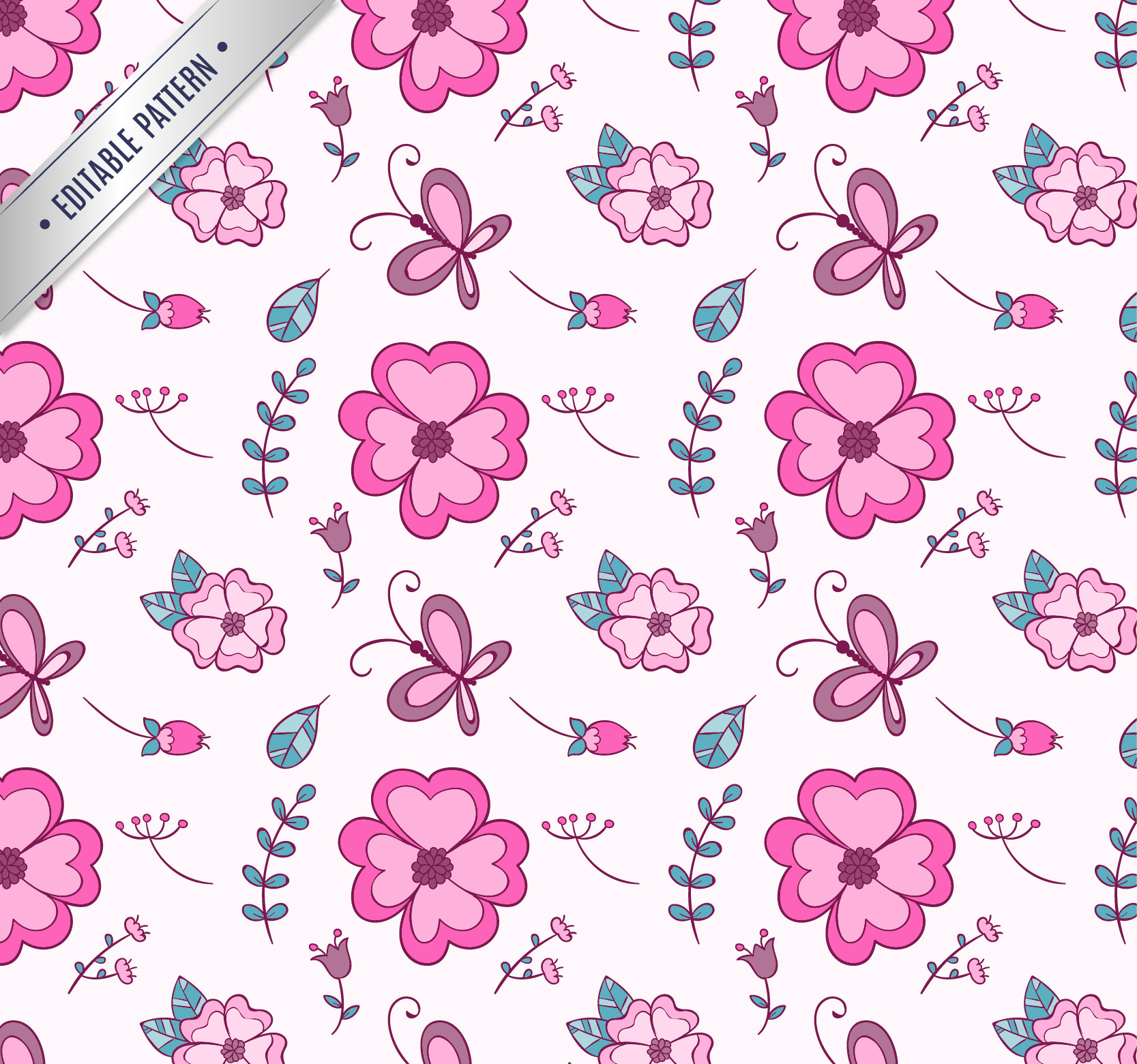 Hand Drawn Seamless Free Flowers and Butterflies Pattern