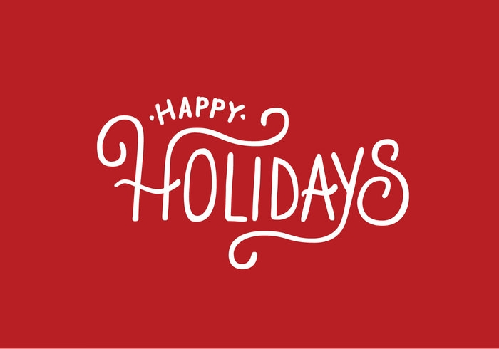 Happy Holidays Lettering Vector on Red Background