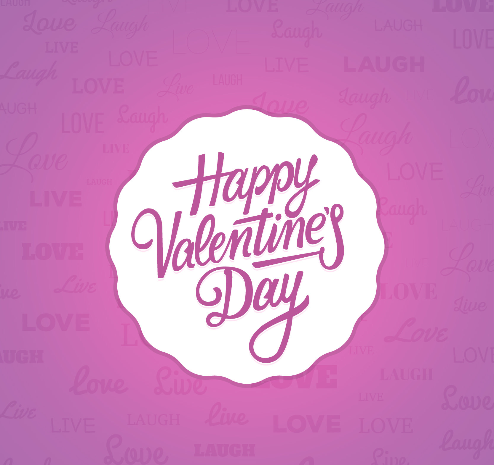 Happy Valentine's Day Badge on Pink background