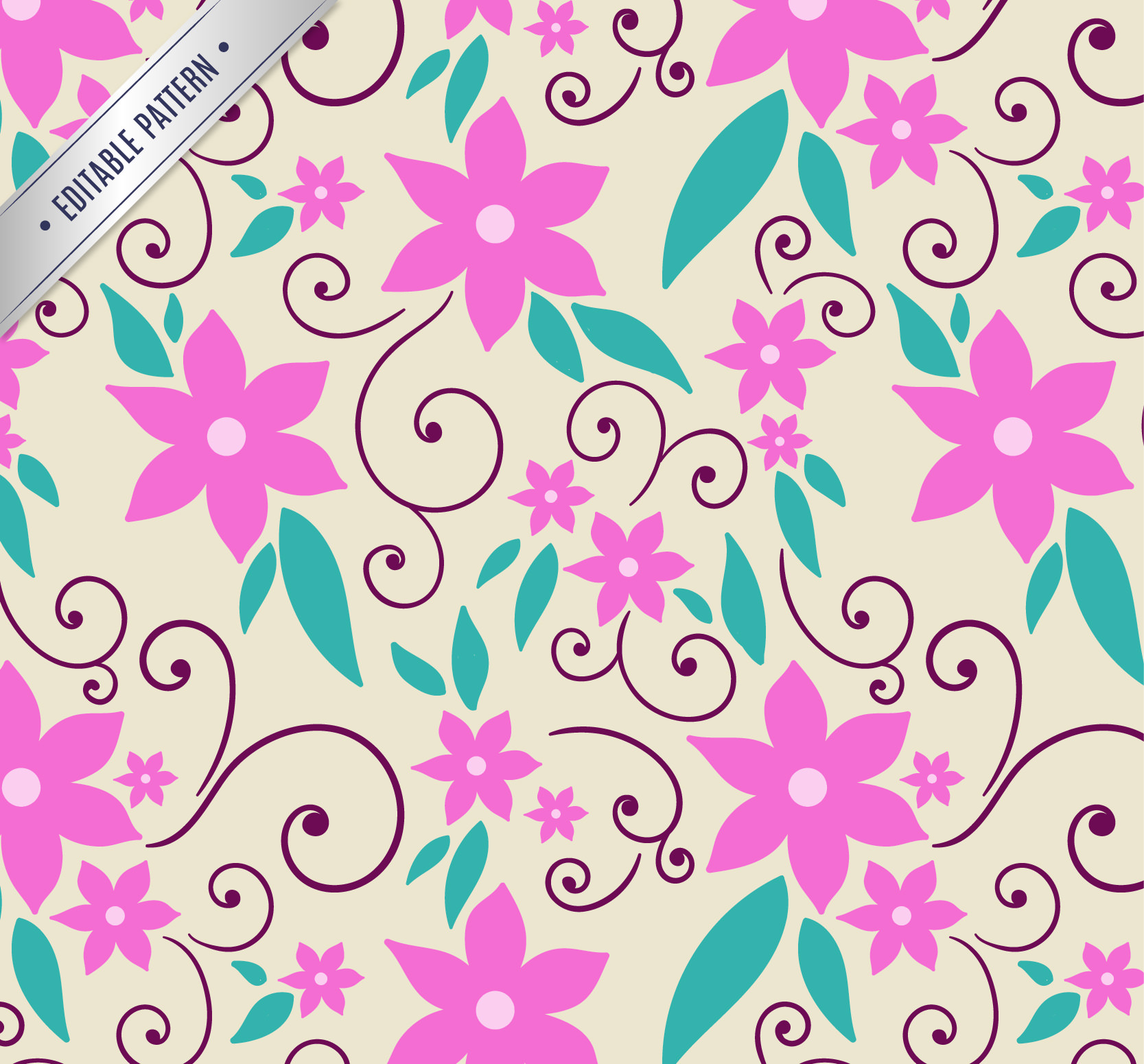 High Res Photoshop Seamless Pink Floral Pattern