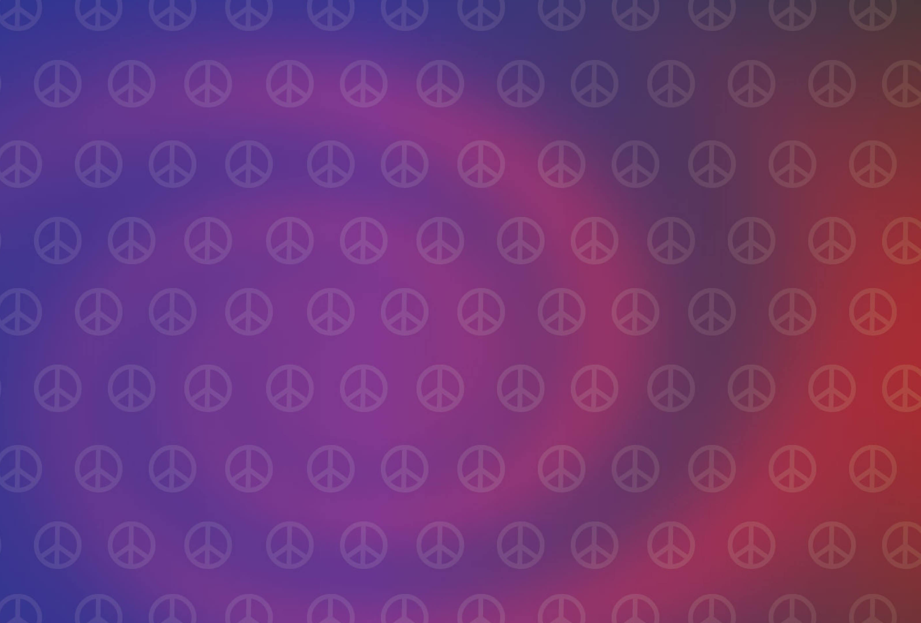 Hippies Sign For Peace Red & Blue Background