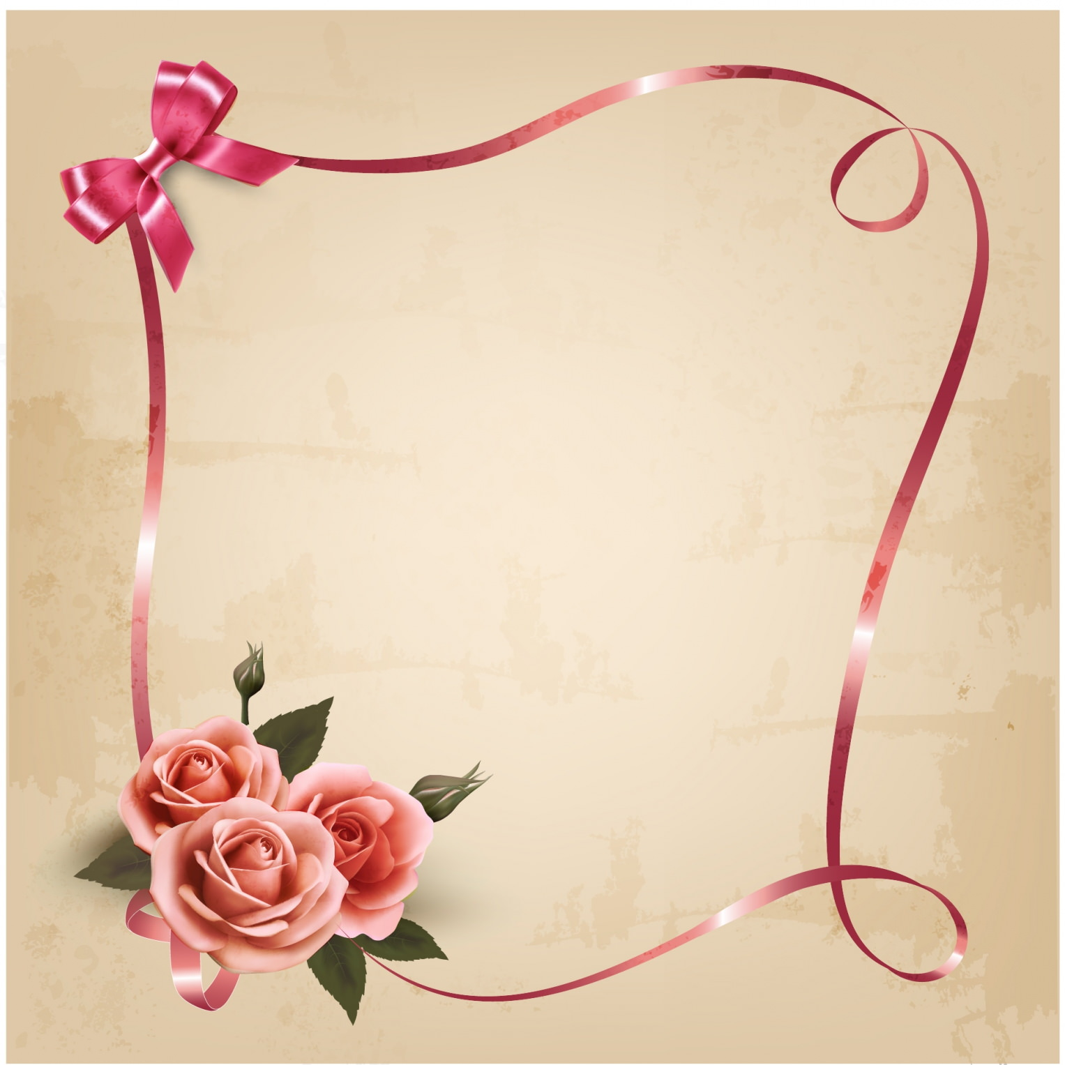 Holiday Background with Pink Roses and Ribbons