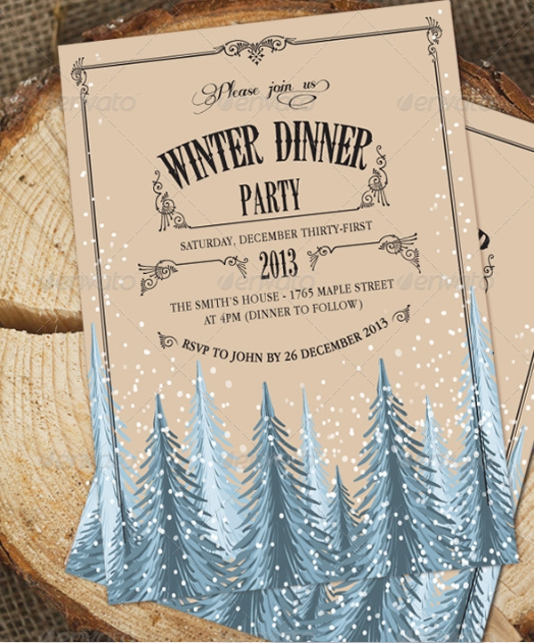 holiday dinner party invitation