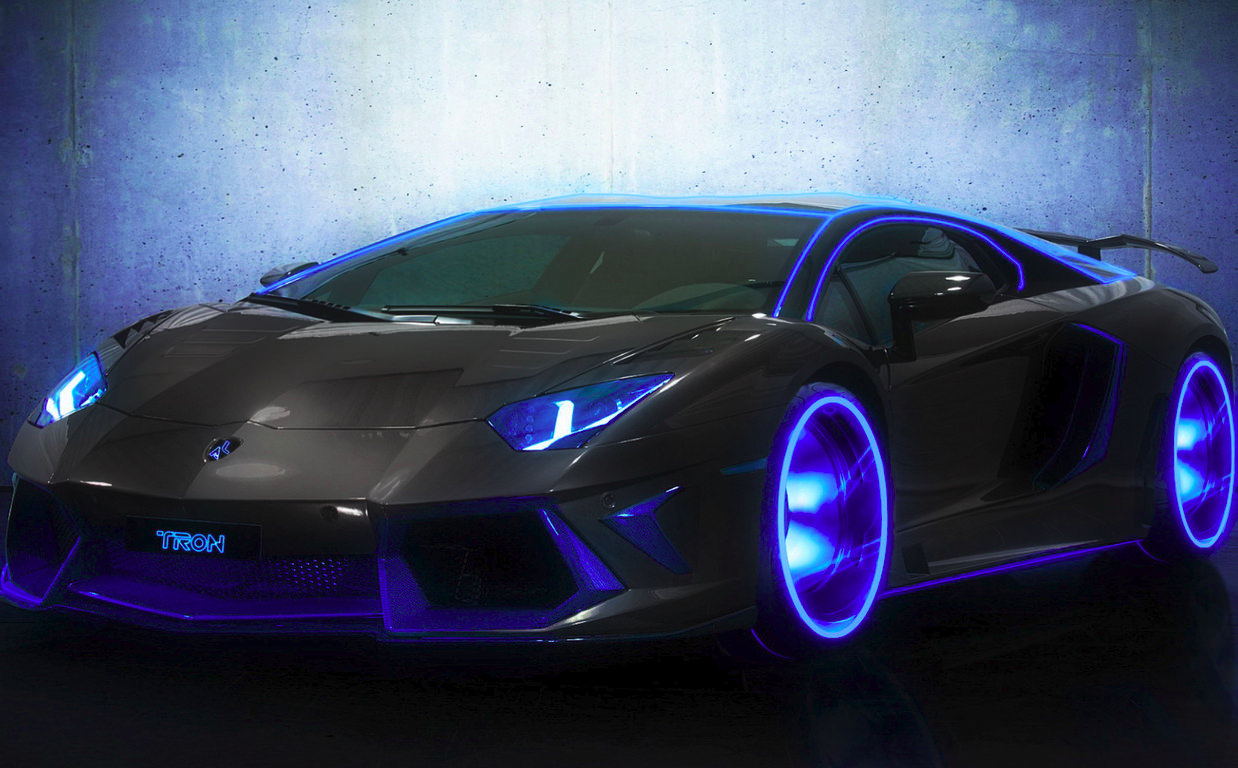 Lamborghini Aventador Blue & Black Background