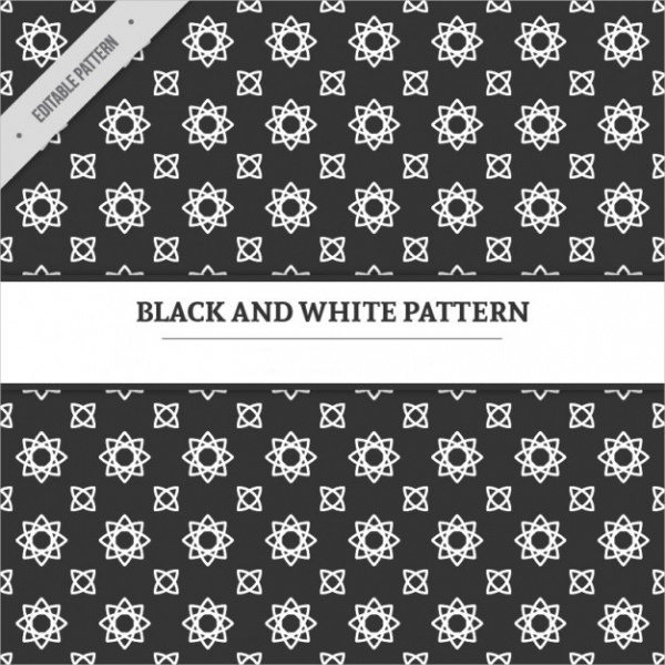 Lineal Flowers Black & White Pattern