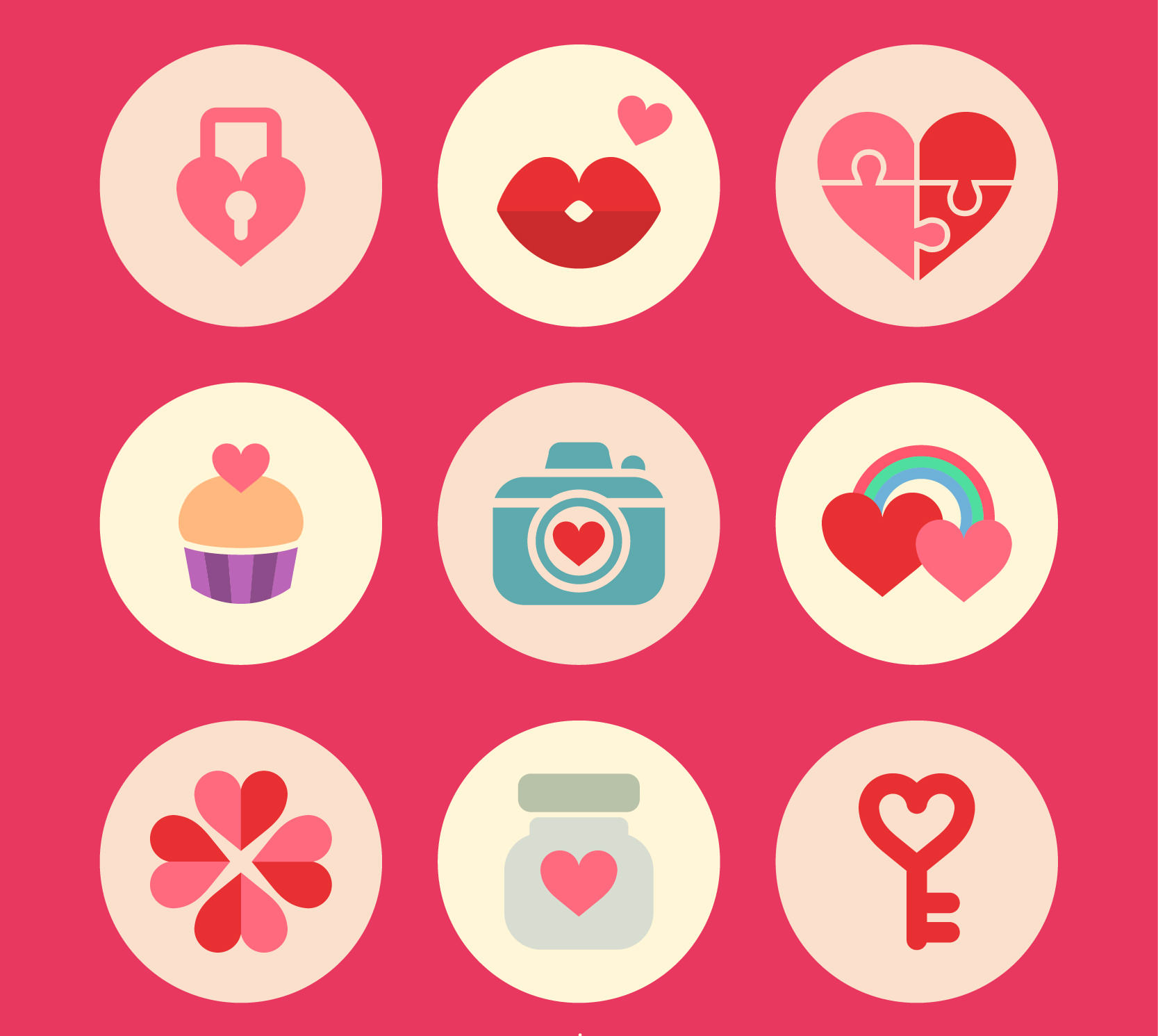 Lovely Valentine's Day Badges Set in Flat Style Design