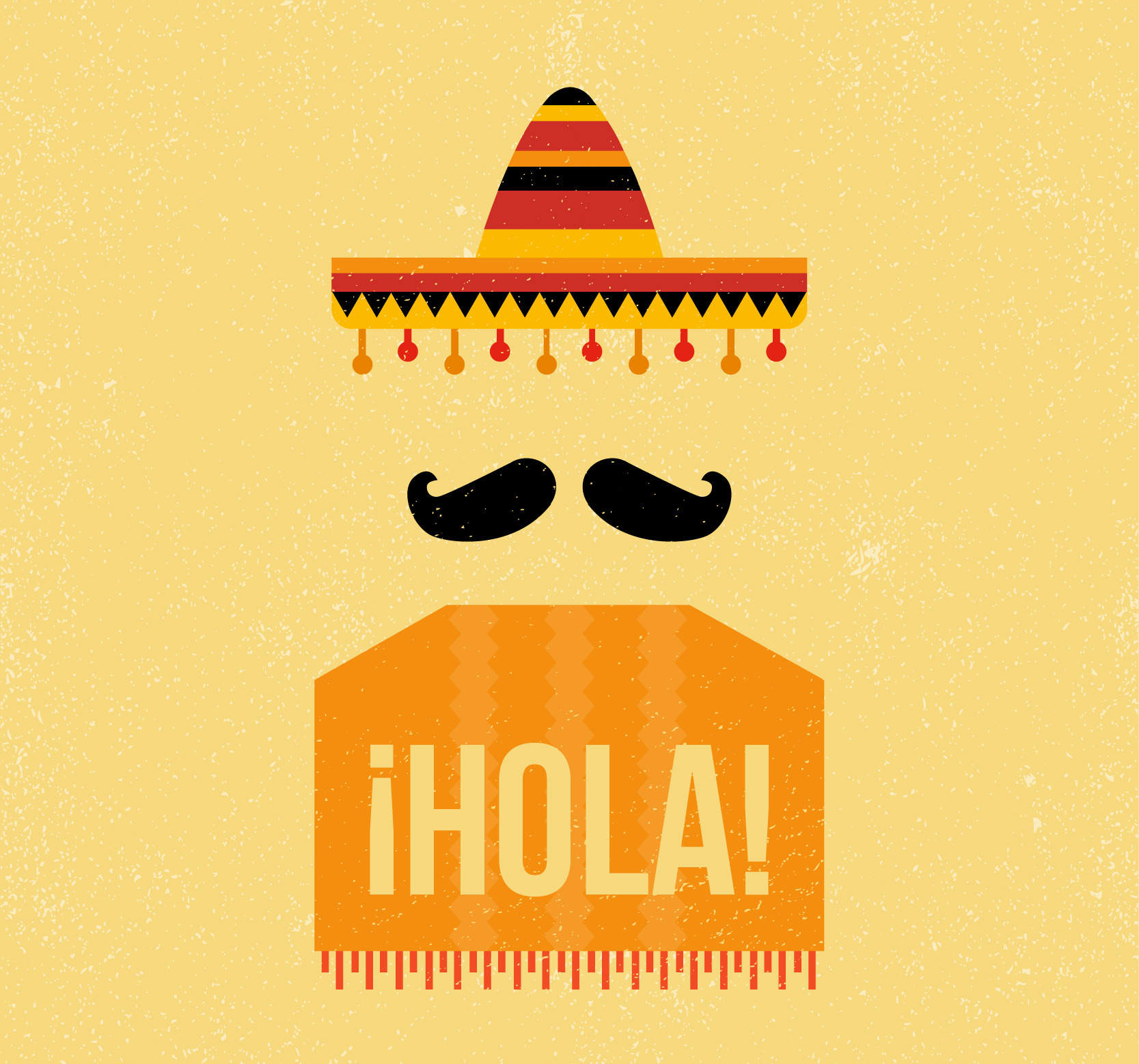 mexican vintage hipster background with hat and mustache